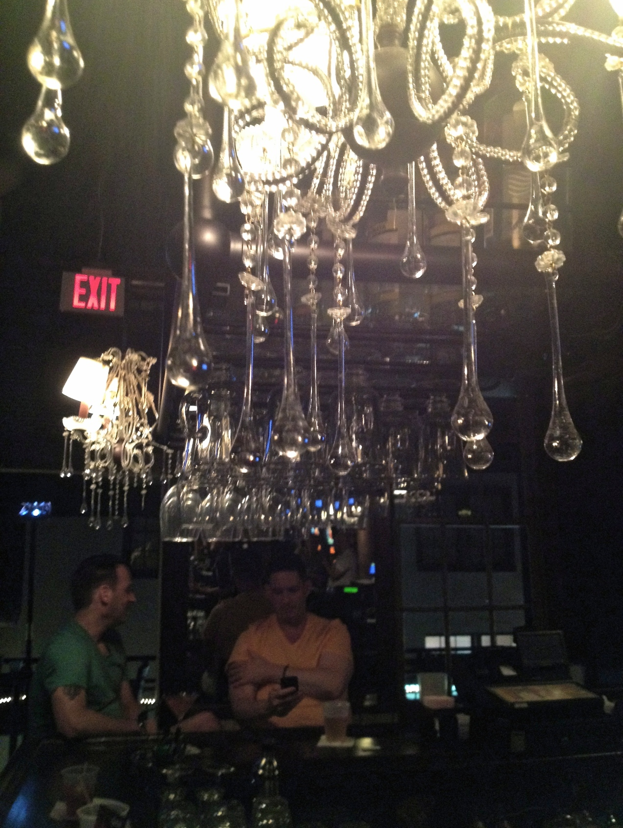 Upstairs at Cafe Lafitte in Exile, with chandelier.