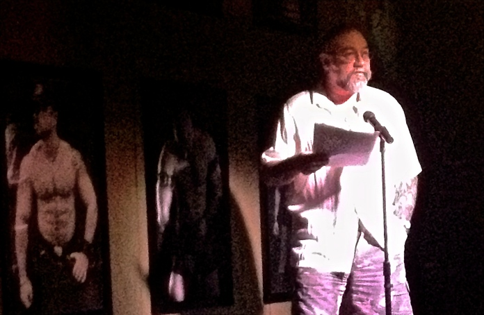 The hirsuite muse.  Virginia mountain man, author, and poet Jeff Mann reading at Bear Bards, a Bear poetry event at The Phoenix Bar.