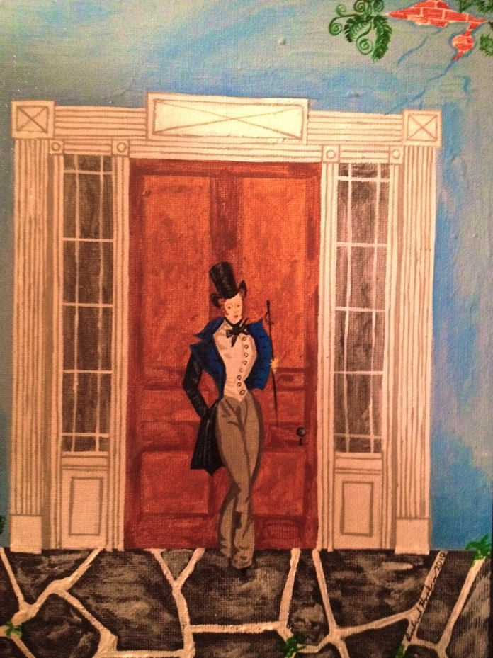 Greek Revival Dandy #2 by Andrew Hopkins, part of an ongoing series of stylishly dressed Southern gentleman. Hopkins is a native of Mobile, AL, who has lived in New Orleans and Baltimore.