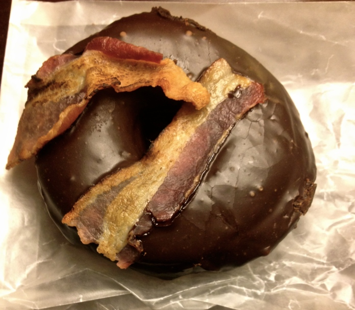 Bacon and chocolate donut tastes vaguely like a Berger cookie...