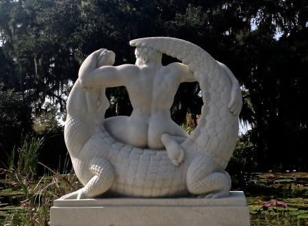 Man Wrestling Alligator, a sculpture at Brookgreen Gardens