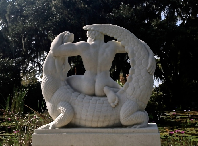 Man Wrestling Alligator, a sculpture at Brookgreen Gardens